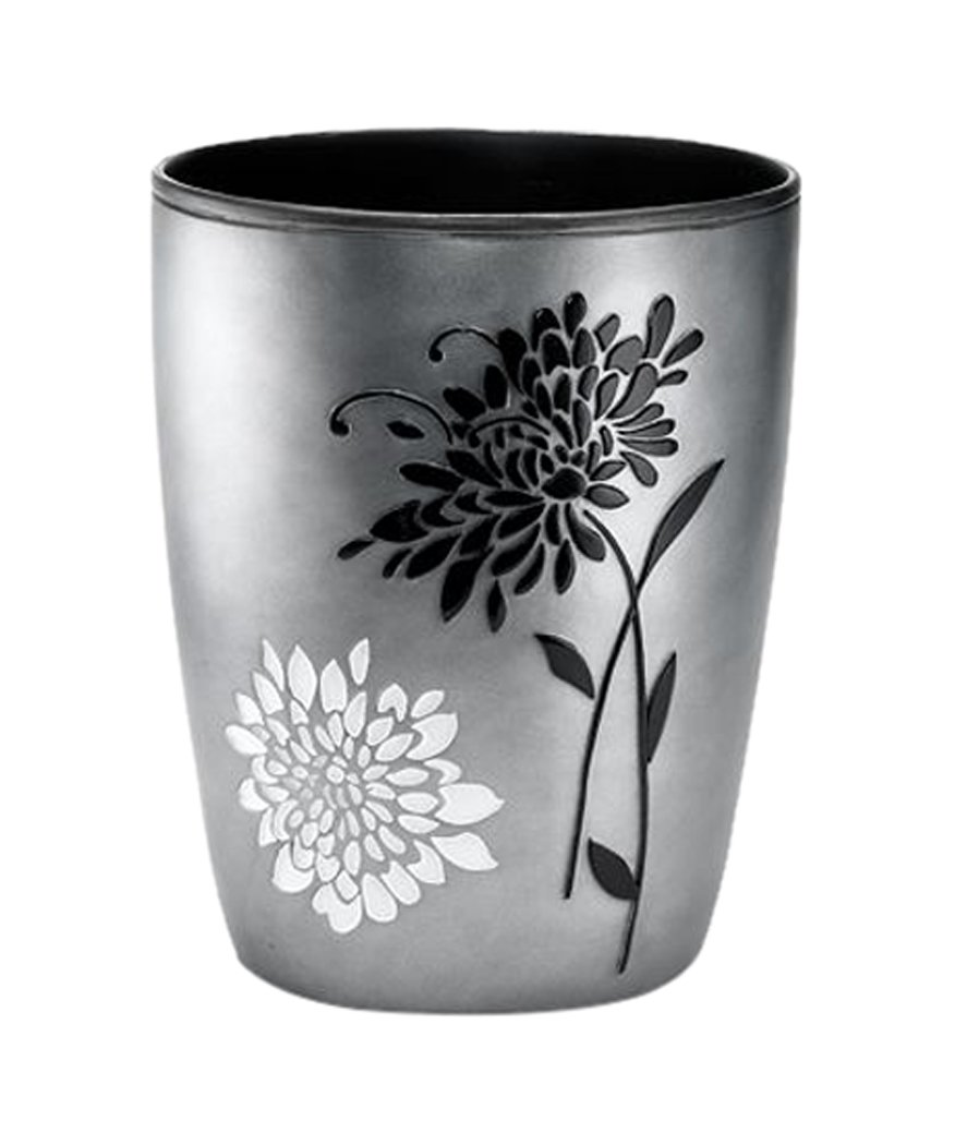 """CDM product Popular Home The Erica Collection Waste Basket, 10 by 10 by 11"""", Grey big image"""