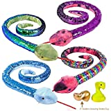 "67"" Sequin Snake (Large Stuffed Animal Toy Made of Soft Plush) Plus 3"" Golden Egg - Watch a Toy Snake Being Born and Grow!"