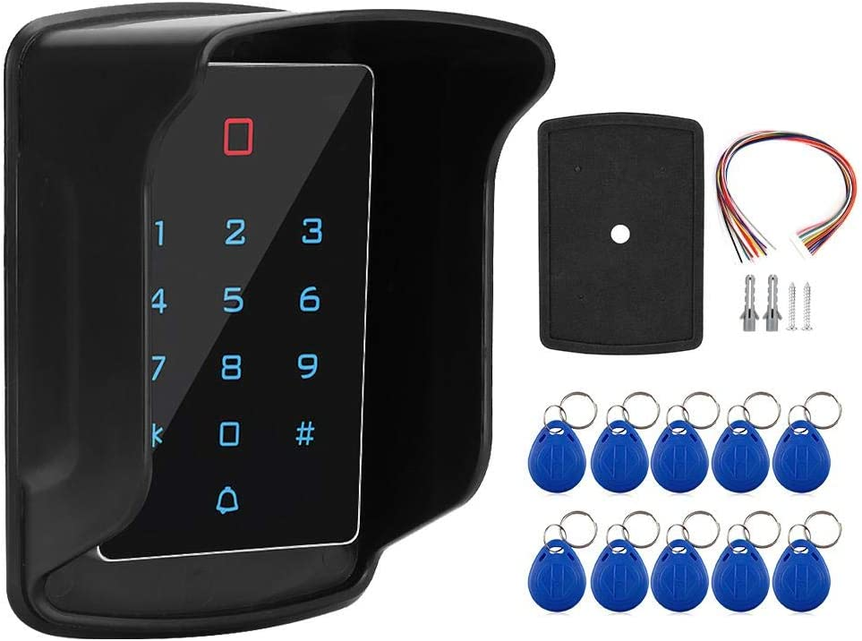 Door Access Control Keypad Machine, Touch Keyboard Access Control System with Waterproof Cover and 10pcs Card Tags, Access-Control Keypads