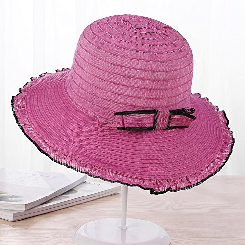 83d844f87d7 AOBRITON Summer Hat for Women Ladies Bow Wave Brim Sun Hat Female Sunscreen  Beach Panama at Amazon Women s Clothing store