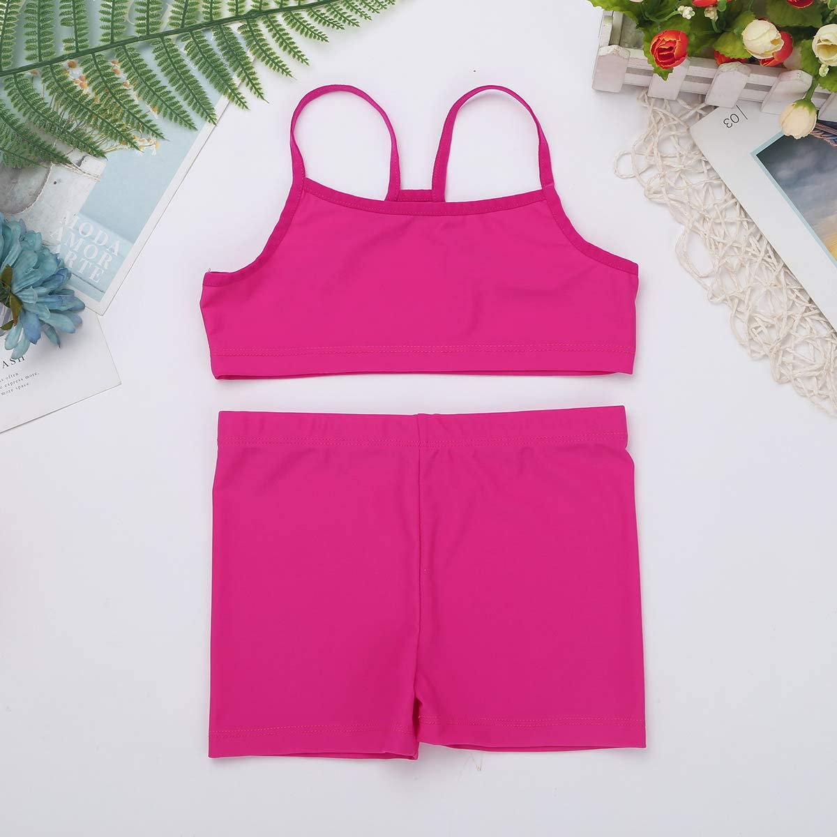 FEESHOW Girls 2 Piece Gymnastic Dance Sports Bra Crop Top with Shorts Outfit Set for Athletic Leotard Dancing Swimming