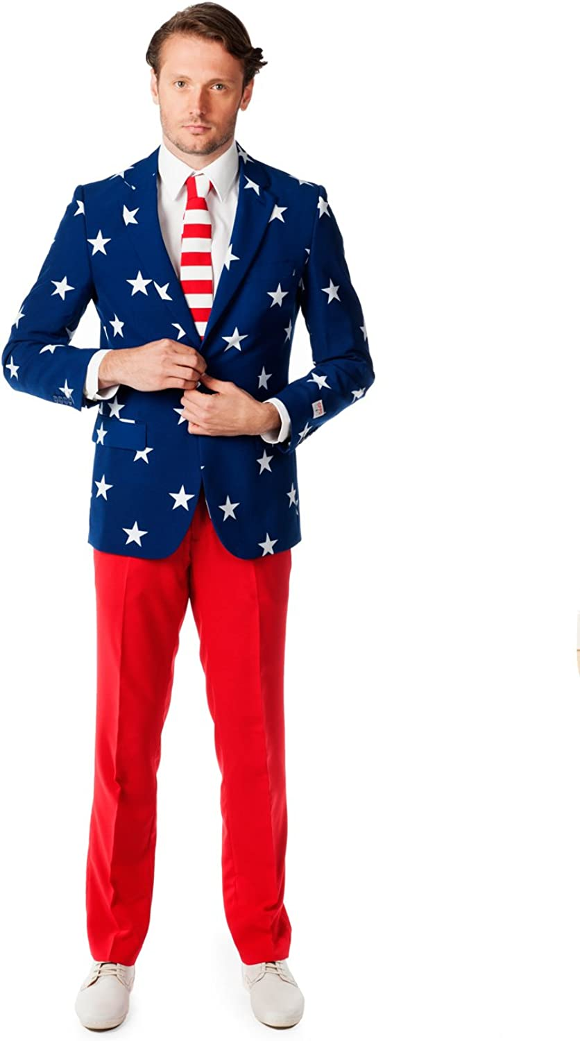 1960s Mens Suits | 70s Mens Disco Suits OppoSuits Men American Flag Suit - USA Outfit for the 4th of July with Red White and Blue Jacket Pants and Tie $99.99 AT vintagedancer.com