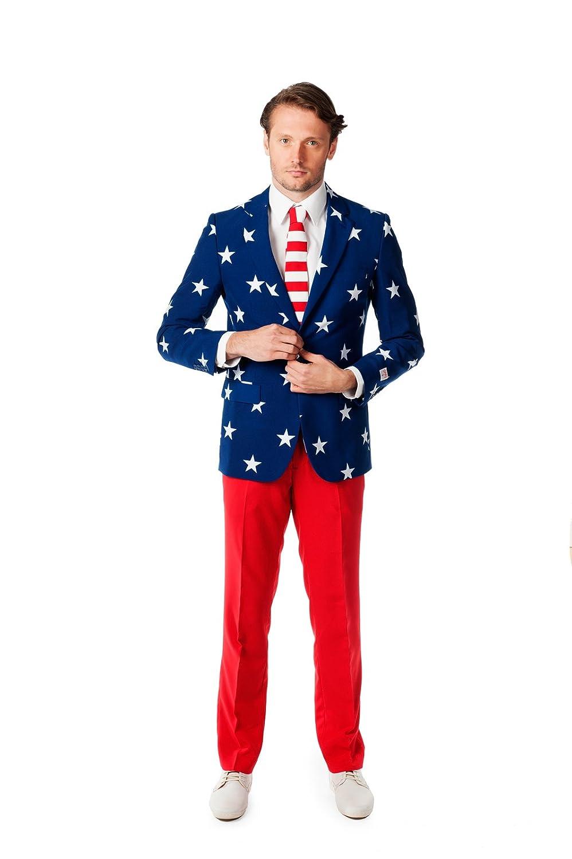 Opposuits OSUI-0023-EU56 - Stars and Stripes - USA Kostüm, Größe 56, mehrfarbig