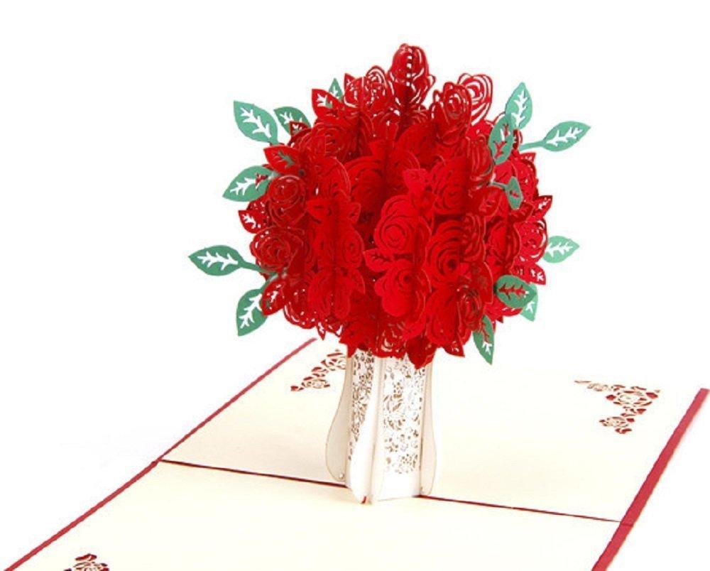 BC Worldwide Ltd Tarjeta pop-up 3D hecha a mano tarjeta de cumpleañ os del florero de la rosa roja, tarjeta del aniversario de boda, dí a de San Valentí n, dí a de la madre, acció n de gracias, halloween, tarjeta de Navid
