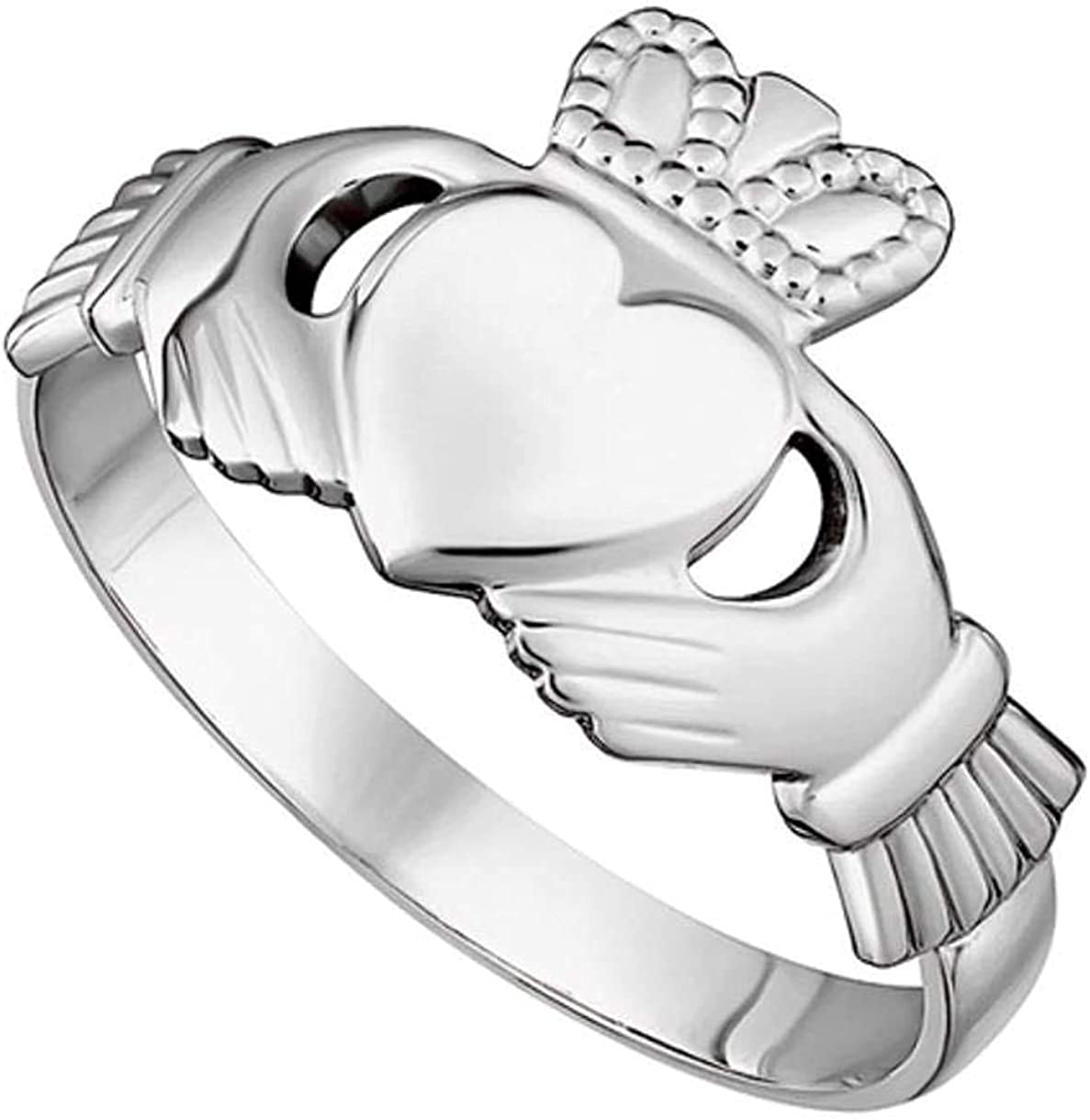 Womens Claddagh Ring Made in Ireland Classic Sterling Silver Traditional Claddagh Design Fine Details Made in Co. Dublin by Maker-Partner Solvar