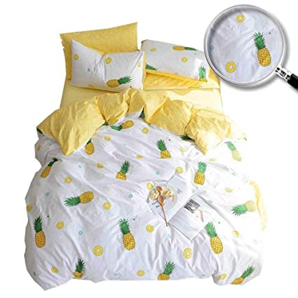 f279a1cdddb5 XUKEJU 100% Cotton Soft Children Adults Duvet Cover Set Yellow Fruits  Printed Pattern Reversible