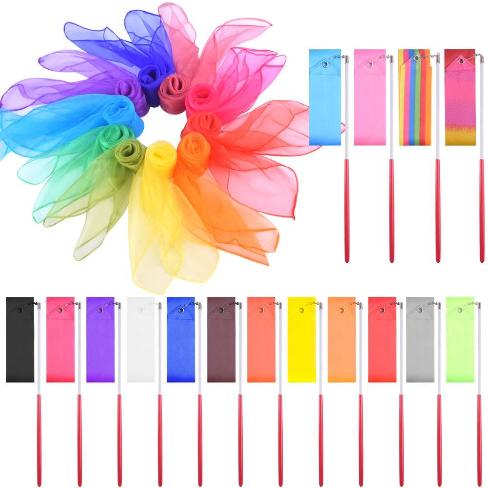 WXJ13 26 Pieces Dance Ribbons and Juggling Scarves Rhythmic Gymnastics Ribbon Dance Ribbon