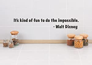 Design with Vinyl RAD 208 1 It's Kind of Fun to Do The Impossible Walt Disney Quote Decor Wall Decal Sticker, 4 x 16
