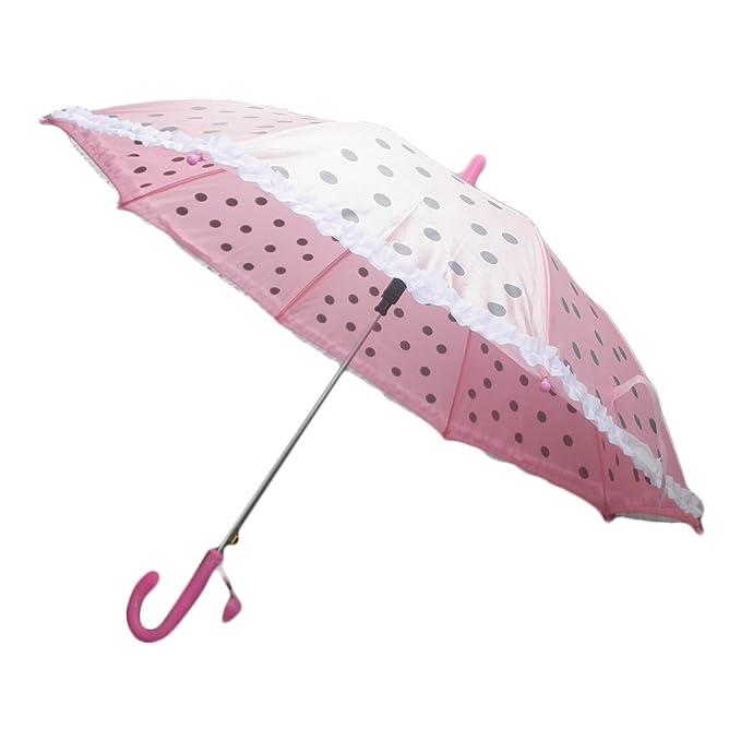 """Hikfly Polka Dot 18"""" Clásico Paraguas con Silbato para niño de niñas Estudiante de Chicas"""