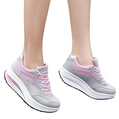 best website d3c3b 84de7 OHQ Secouez Les Chaussures De Maille des Femmes Augmenter Sport Fond Mou  Rose Bleu Mode Mesh