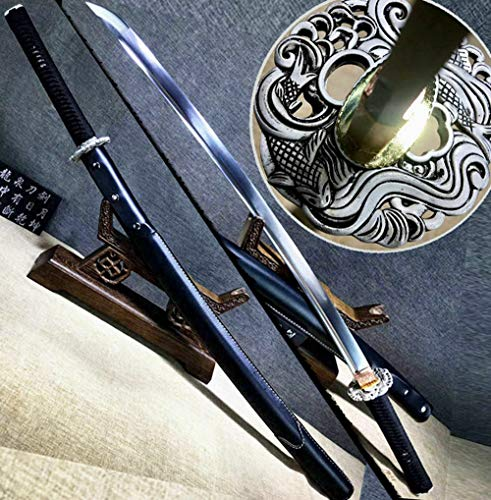 Hand-Forging Strong 60HRC Spring Steel Blade Sharp Japanese Samurai Sword Katana Battle Ready Full Tang Asian Saber Knife (Battle Ready Samurai Swords)
