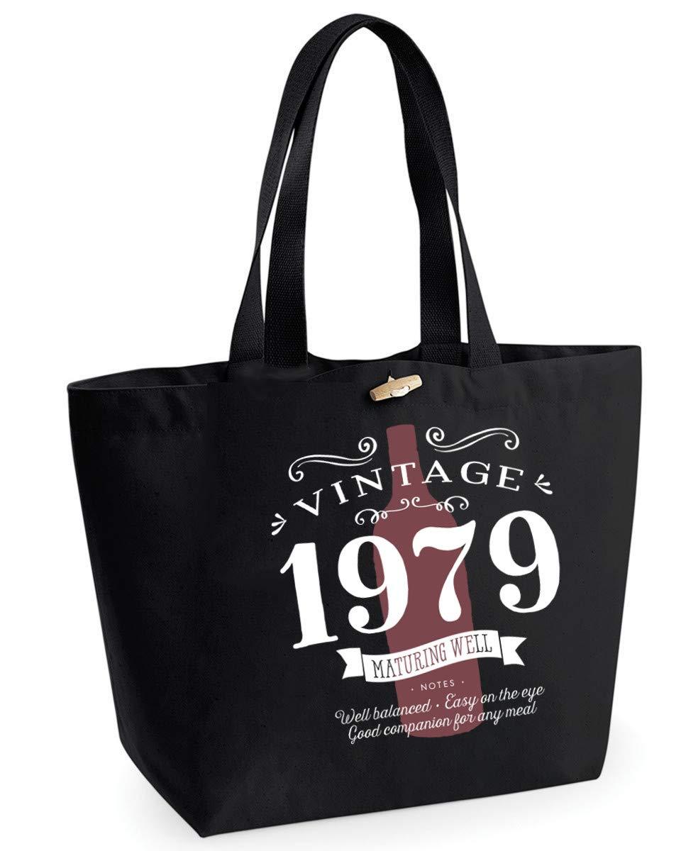 40th Birthday 1979 Keepsake Vintage Wine Funny Gift Gifts For Women Novelty Ladies Female EarthAwareTM Organic Marina Tote