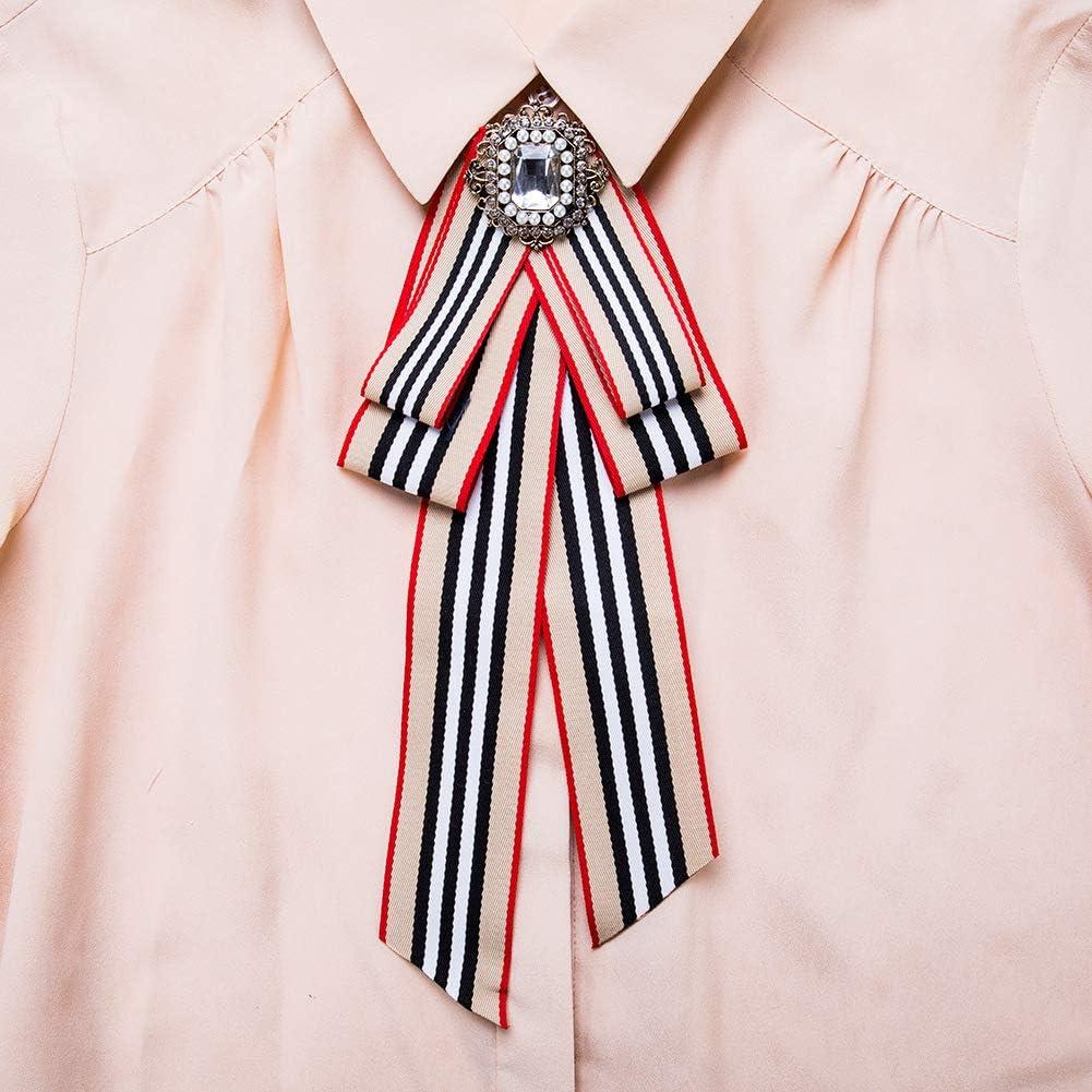 Yazilind Femmes Arc Boutonni/ère Europe Style Broche Sauvage Mode Tendance Party Shirt D/écoration Pr/é-Attach/é Cravate Bijoux