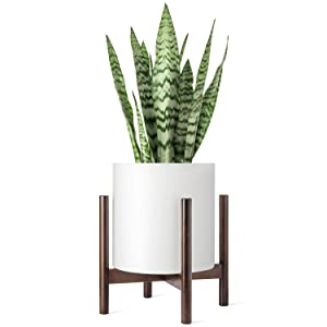 Mkono Plant Stand Mid Century Wood Flower Pot Holder Display Potted Rack Rustic, Up to 12 Inch Planter (Plant and Pot NOT Included), Dark Brown