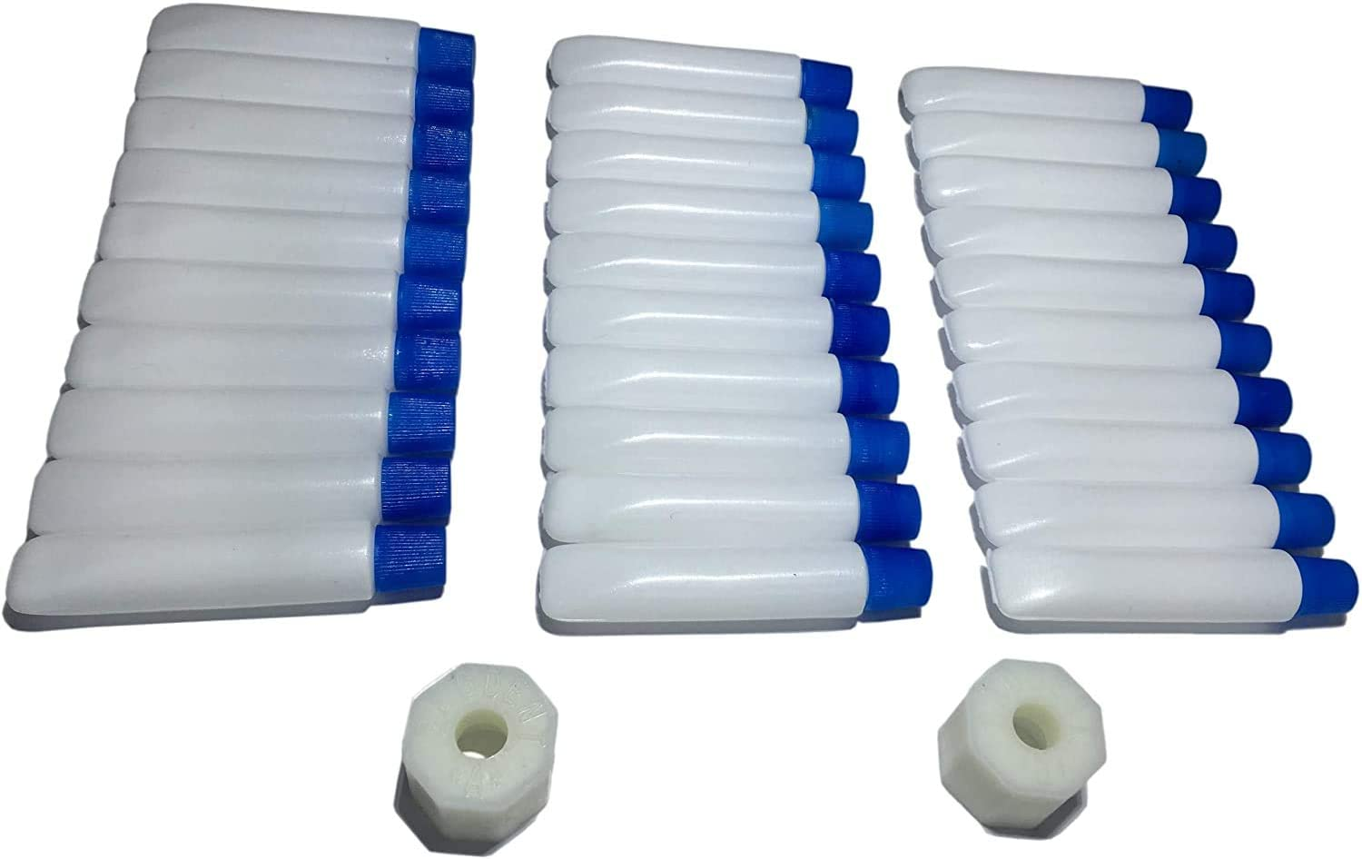Travel Bottles Set - 30x Empty Mini Tubes 0,12 ounce + 2x Filling Adapters, Make Your Own Travel size Toiletries