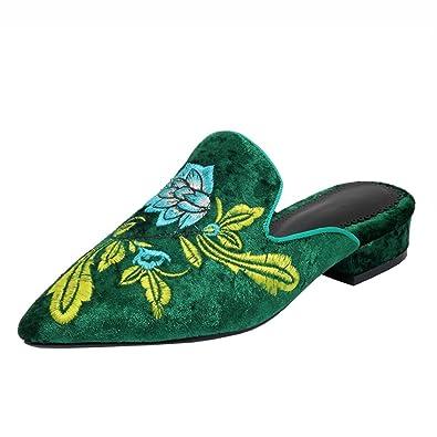 Agodor Damen Flache Slingbacks Mules mit Stickerei und Spitze Bequeme Slipper Wildleder Schuhe