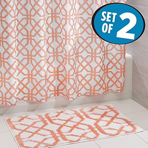 mDesign Fretwork Fabric Shower Curtain and Microfiber Bathroom Accent Rug - Set of 2, Coral/White