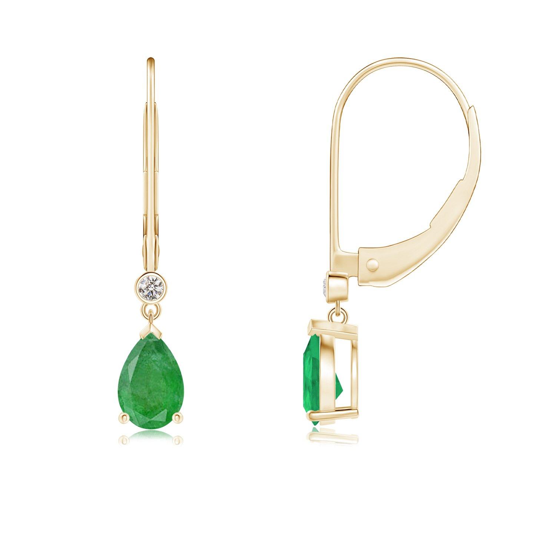 Amazon Leverback Pear Emerald Drop Earrings with Diamond in