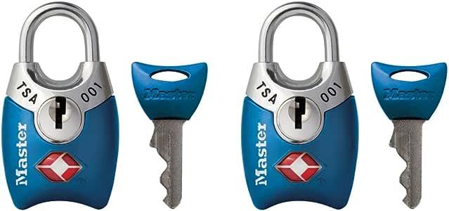 Master Lock Padlock, Keyed TSA-Accepted Luggage Lock, 1 in. Wide, Silver, 4689TSLV (Pack of 2)
