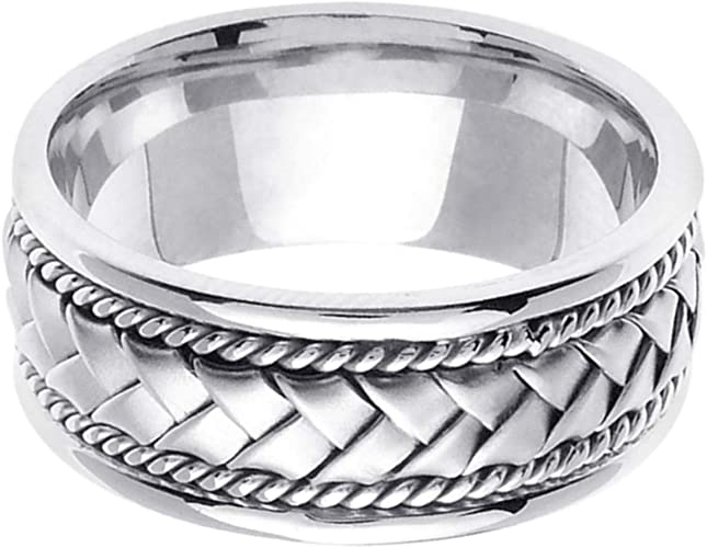 Sterling Silver Hand Braided Wedding Ring Band for Men Sizes 9-14