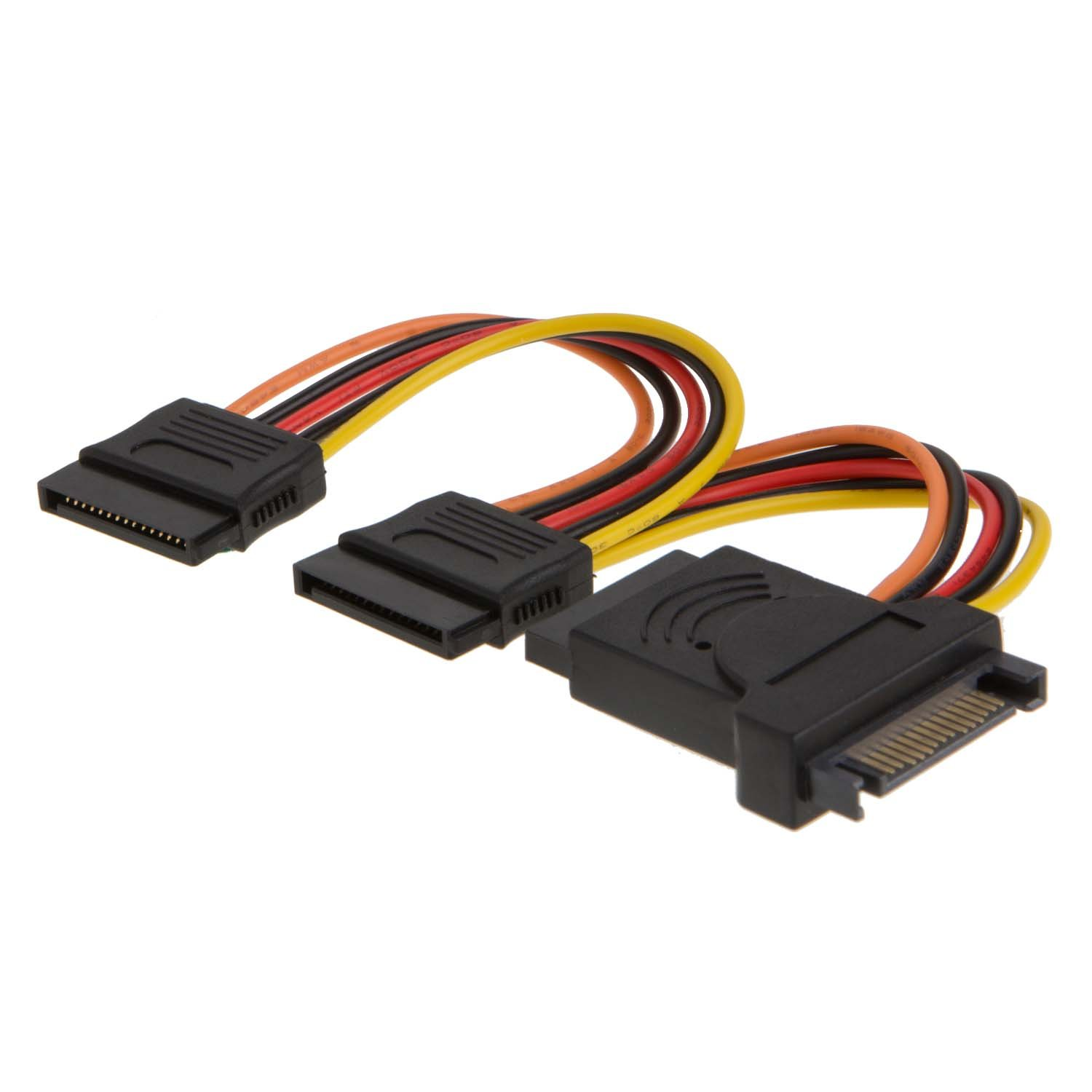 CableCreation SATA 15pin Power Cable, 6-inch SATA 15-Pin Male to 3x15-Pin  Female Power Extension Y Splitter Cable Adapter