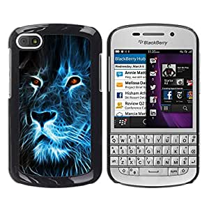 KOKO CASE / BlackBerry Q10 / león fuego azul dibujo ojos ardientes arte / Delgado Negro Plástico caso cubierta Shell Armor Funda Case Cover