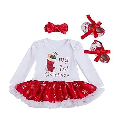 Bambina Festa di Natale - Maniche Lunghe Pagliaccetto + Fascia + Scarpa Costume  Vestito per Natale Halloween Feste Party 3PCS  Amazon.it  Abbigliamento 1868beb1a02