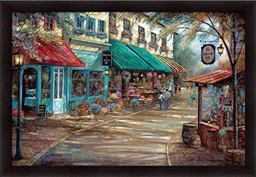 Romantic Interlude Ruane Manning French Bistro Street Scene Framed Art Print Wall (Bistro Framed)