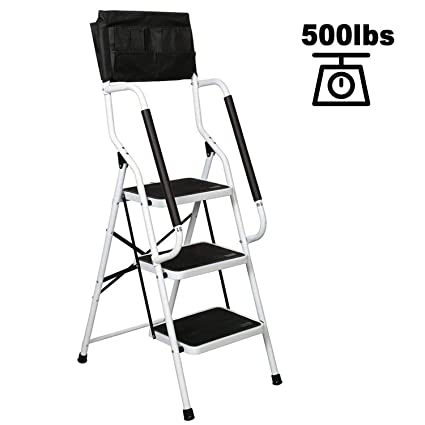 Pleasing Charahome 3 Step Ladder Step Stool Folding Portable Ladder Steel Frame With Safety Side Handrails Non Slip Wide Pedal Kitchen And Home Stepladder With Machost Co Dining Chair Design Ideas Machostcouk