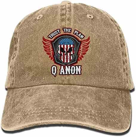 5e5afe55c107c UCOOLE QAnon Trust The Plan Patriotic Skull and Wings Dad Hat Adjustable  Denim Hat Classic Baseball