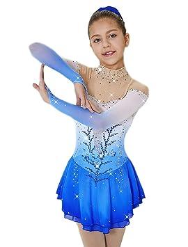 Heart&M Vestido de Patinaje artístico para niñas, competición de Patinaje Hecho a Mano Sobre Hielo