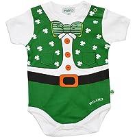 Carrolls Irish Gifts Full Leprechaun Baby Vest with a Shamrock and Bow Tie Design