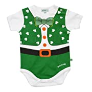 Carrolls Irish Gifts Full Leprechaun Baby Vest With a Shamrock and Bow Tie Design