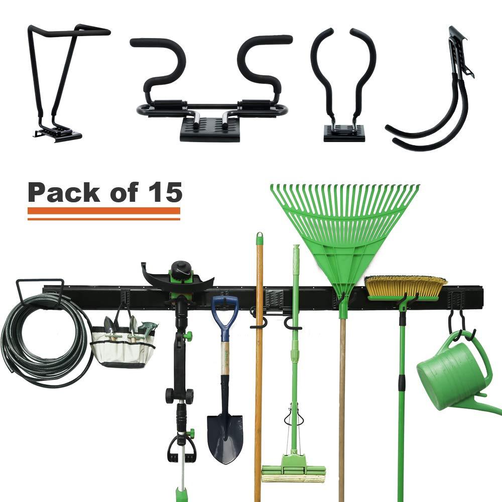 Wallmaster 15-PCS Garage Storage Systems All-in-one Wall Mounted Removable Hooks Organizer Adjustable Organization Rack Hanger for Rake Shovel Lawn Garden Tools (80inch Rail, 10 Hooks)
