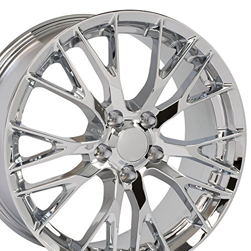 Chrome Plated Aluminum Rims (20x10/19X8.5 Wheel Fits C7 Corvette, Camaro - Flow Formed C7 Z06 Style Chrome Rim, Hollander 58982 - SET)