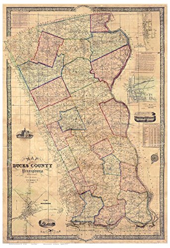 Bucks County Pennsylvania 1850 - Color Wall Map with Homeowner Names - Old Map Reprint