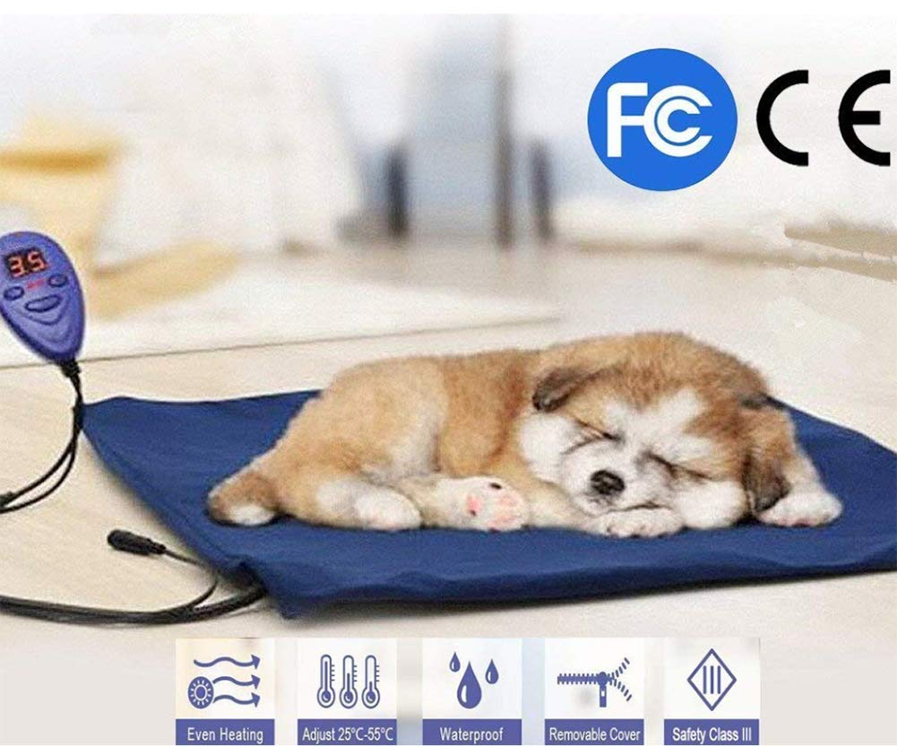 Dogs and Cats Electric Heating Pad Pet Heating Pad Waterproof Adjustable Warming Mat with Chew Resistant Cord Soft Removable Cover Overheat Predection 30  40Cm