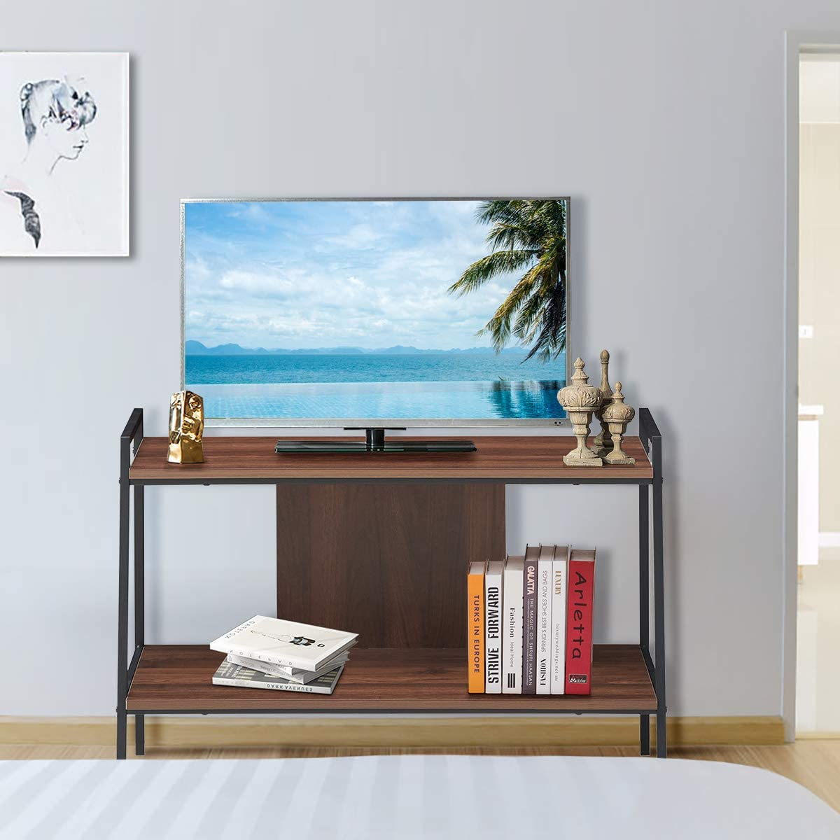 Tangkula 32 Inch TV Stand, Simple Industrial Style, 2-Tier Farmhouse Wooden Media Table, Media Console with 2 Storage Shelves for Home Living Room Office, Multifunctional TV Stand Shelf Walnut