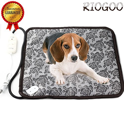 RIOGOO Pet Dog Waterproof Electric Heating Pad Thermal Cat Warming Pad With Anti Bite Tube