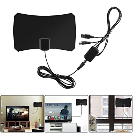 Houkiper Digital TV Antenna Indoor HD 1080P 50 Miles Long Range HDTV Antenna 10ft coaxial cable