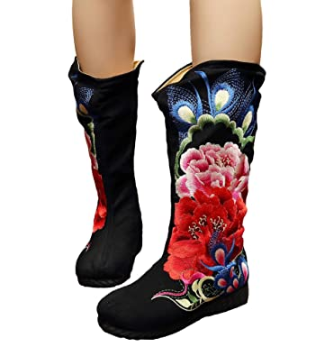 Womens Peony Embroidery Mid Calf Round Toe Flats Boots