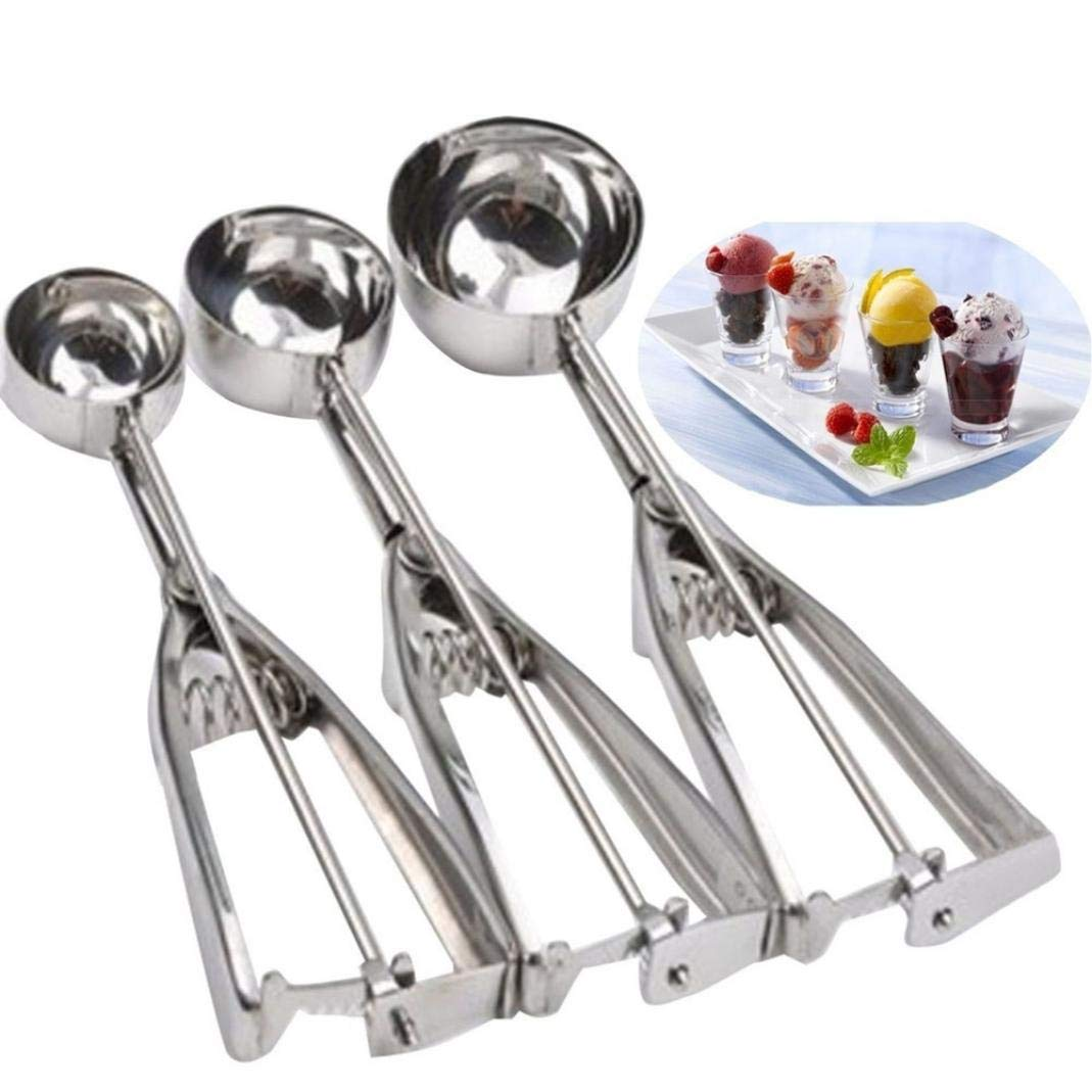 Mashed Potatoes Simple Culture Ice Cream Scoop Stainless Steel Cookie Scoops with Trigger Release Muffin Melon 3 Sizes Balls for Meatball