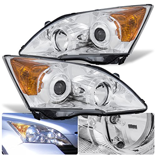For Honda CRV CR-V Facory Style Front Bumper Projector Headlight Head Lamp Chrome Housing Clear Lens Amber Reflector Upgrade Assembly Pair Left Right
