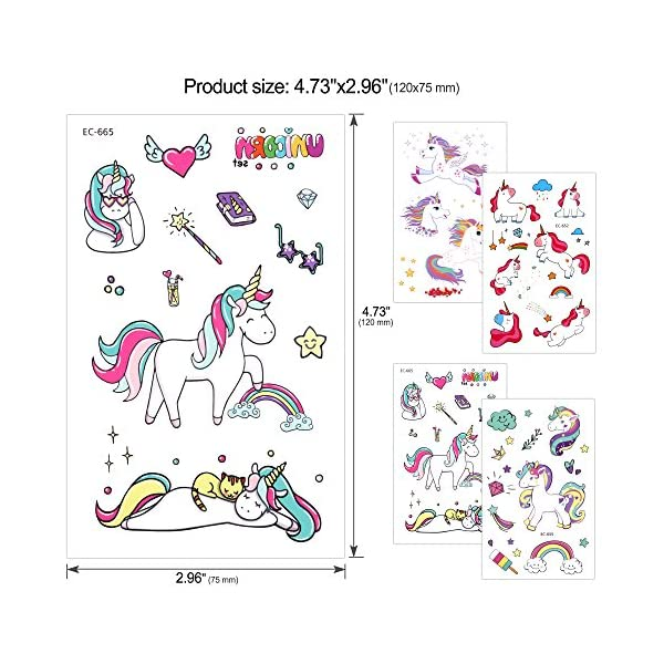 Konsait Unicorn Temporary Tattoos for Girls (130Assorted Glitter Tattoo), Rainbow Unicorn Party Supplies, Great Kids Birthday Party Bag Filler, Girls Party Favors Goody Bag Stuffers Carnival Rewards 5