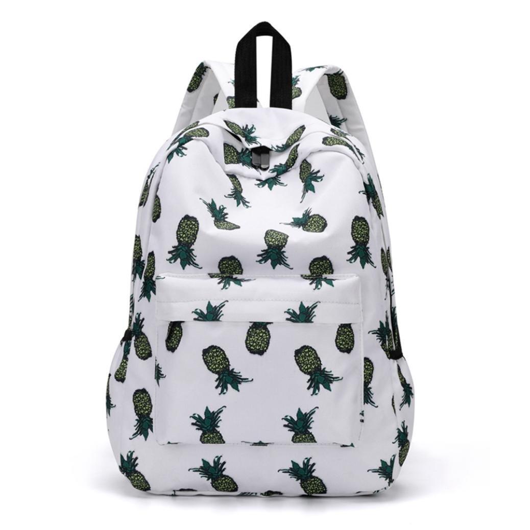 Shybuy Fashion Leisure Backpack for Girls Teenage School Backpack Women Pineapple Print Nylon Backpack Purse (B, 15.75''(L)4.33''(W)11.42''(H))