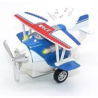 Joy-Fun Juguetes para niños DE 3-8 años Avión de Juguete Fundido a Troquel Vehículos de Juguete de Retroceso Aeronave con Luces y Sonidos Regalo de niños JF-UK-Plane Azul