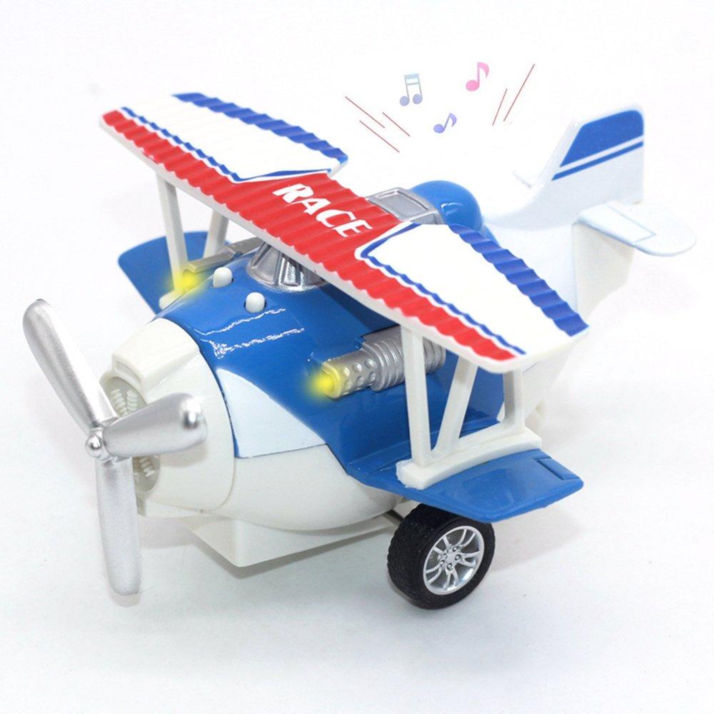 Joy-Fun Spielzeug für 3-8 Jahre Jungen Druckguss Flugzeug Spielzeug Doppeldecker Fahrzeuge Modellflugzeug mit Licht und Ton Blau