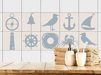 GRAZDesign 770387_15x15_FS20st Fliesenaufkleber Anker Maritim |  Fliesenbilder Für Bad | Blau   Braun | Fliesen Zum