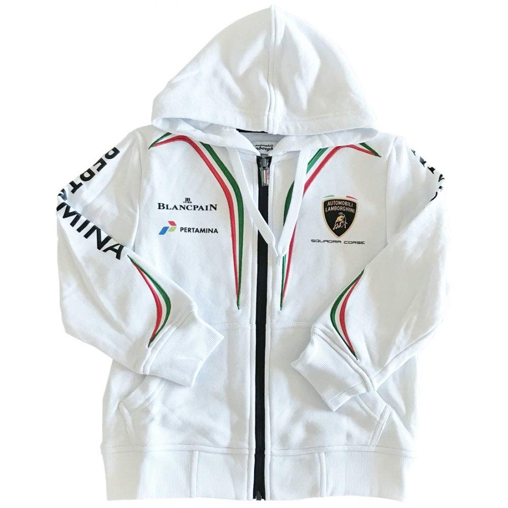 Sports Mem, Cards & Fan Shop Lamborghini Kids Zip-up Hoodie White Racing-other