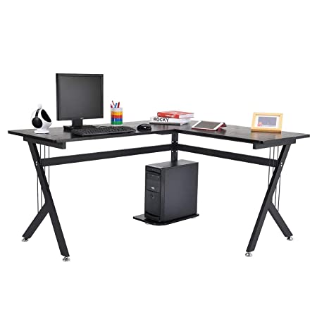 Tenive Ergonomic Corner Office Desk Workstation -L Shape Computer Desk Home Furniture, 61 Black